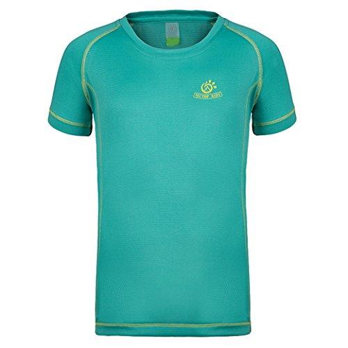 TECTOP Kids Dri-Fit Sport Short Sleeve T-Shirts Stretch Outdoor Wear Green