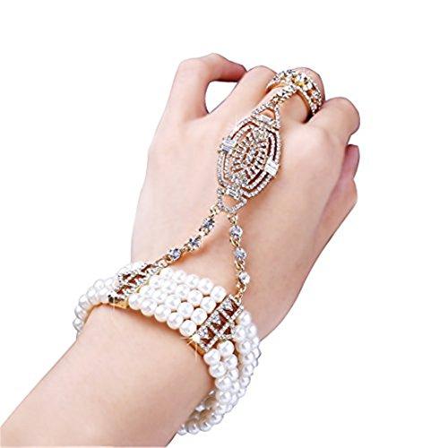 Babe yond la Great Gatsby braccialetto bracciale Ring Set Flapper ragazza accessori venti cristalli austriaca Imitation Pearl