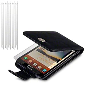 BLACK SAMSUNG GALAXY NOTE PU LEATHER FLIP CASE / COVER / POCKET / POUCH, WITH 6-IN-1 SCREEN PROTECTOR PACK