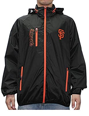 MLB SAN FRANCISCO GIANTS Mens Zip-Up Hooded Wind Breaker Jacket with Lining
