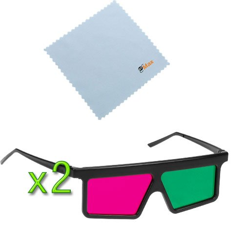 GTMax 2pcs 3D Magenta/Green (Flat Square) Glasses