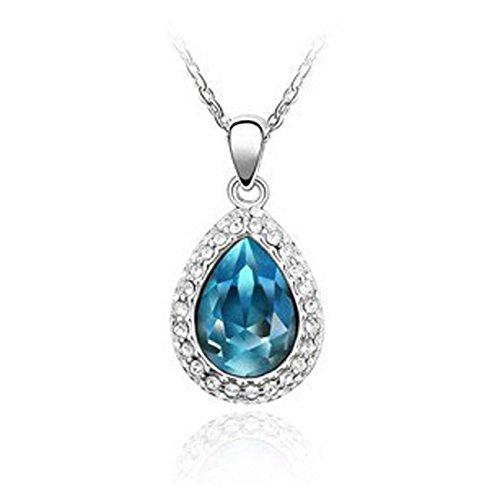 Gioielli da donna, motivo: giglio, colore: blu acqua, goccia di Swarovski Element-Collana da donna con strass