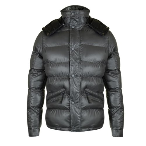 Men's stylish padded jacket with hood - Charcoal