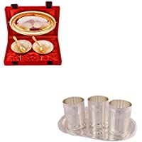 Silver & Gold Plated 2 Heavy Flower Bowl With Spoon And Tray And Silver Plated 3 Premium Glass Set With Oval Tray