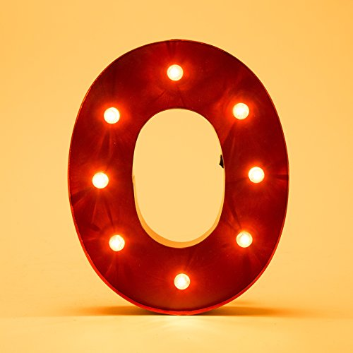 Glitzhome Vintage Marquee LED Lighted Letter O Sign Battery Operated Red 0