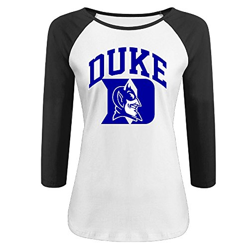 Women's Duke Blue Devils 100% Cotton 3/4 Sleeve Athletic Baseball Raglan Shirt Black US Size M (Duke Blue Devils Womens Apparel compare prices)