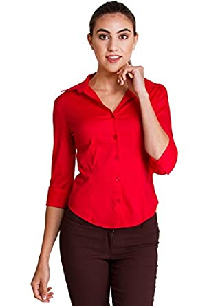 Woman Red Regular Fitted Button Up 3 4 Sleeve Point Collar