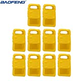 10pcs Handheld Soft Rubber Case Portable Silicone Cover Shell for Baofeng UV-5R Series Two Way Radios Walkie Talkie (Yellow) (Color: Yellow)