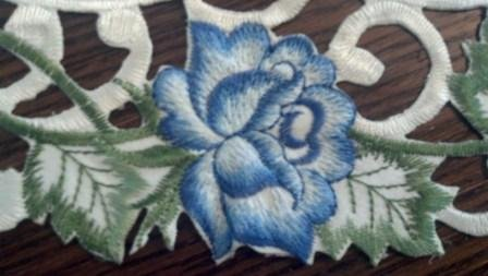 "34"" Table Runner Or Dresser Scarf With Bright Victorian Blue Roses"