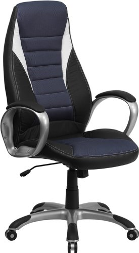 Flash Furniture Ch-Cx0243H-Sat-Gg High Black Vinyl Executive Office Chair With Blue Mesh Insets front-942726