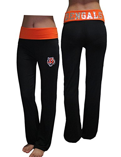 Womens Cincinnati Bengals Casual-Wear Lounge / Yoga Pants (Foil Print) Xl Black