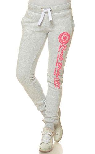 M.Conte Sweat-Pants Modello Ramona Pantaloni in Felpa sportivi da Jogging tuta felpa per donna bianco melange Taglia S