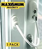 MAX6MUM SECURITY Lockable Baby and Child Window and Door Safe Restrictor in White (Single Pack)
