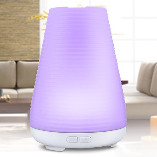 【ノーブランド品】 アロマディフューザー 超音波式 加湿器アロマポット ライト 多色変換LED付き