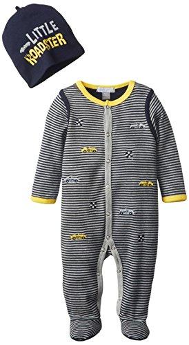 Petit Lem Baby-Boys Newborn Racing Baby Sleeper And Hat, Navy Stripe, 3 Months