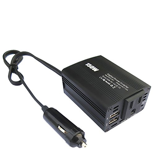 Autai 150W Power Inverter DC 12V to AC 110V Converter Car Adapter with US Outlets and Dual USB Charging Ports (80w Solar Panel compare prices)