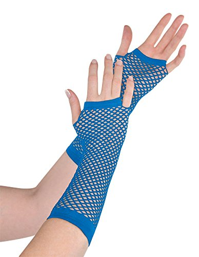 Blue Fishnet Long Gloves (Standard) - 1
