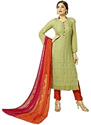 Zbuy Light Green Georgette Embeoidered Unstitched Salwar Suit Dress Material