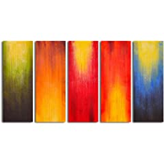 Hand Painted panels of 5 piece oil canvas art
