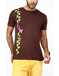 Paani Puri Men's Round Neck Cotton T-Shirt (C. Brown)