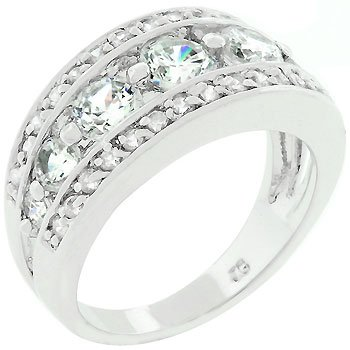 White Gold Rhodium Bonded Seven-stone Anniversary Style Ring Trimmed with Pave Cz in Silvertone Women's Jewelry (10)