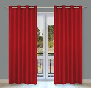 LJ Home Fashions Silkana window panels in red (set of 2)