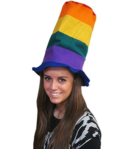Multicolor Stove Pipe Hat - Oversized Stove Pipe Hat In Rainbow Colors