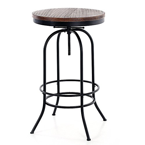 IKAYAA 3PCS Adjustable Bar Pub Swivel Bistro Table Chair Set Coffee Table Set Industrial Style Natural Pinewood & Steel