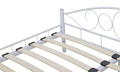 Metal Bed 180 x 200 cm White Curved