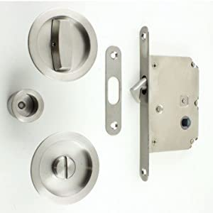 Karcher Design Bathroom Hook Lock With Turn And Release For Sliding Pocket Doors Satin