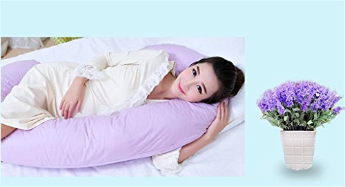Purple U Shaped Contoured Body Pregnancy Maternity Pillow with Zippered Cover