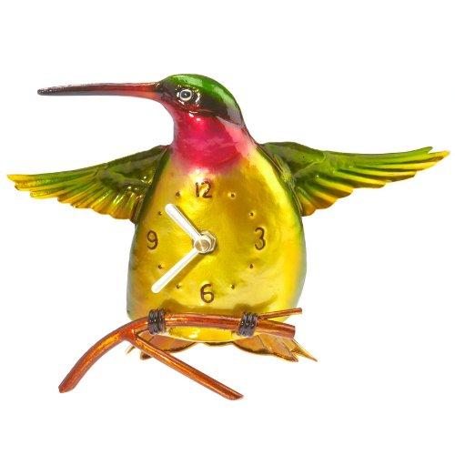 Deco Flair Metal Colored Desk Clock, Hummingbird
