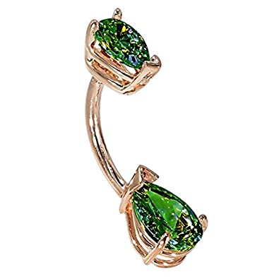 "FreshTrends 14G 3/8"" - Double Pear Shape Green CZ Solid 14KT Rose Gold Belly Bar Ring - (May)"