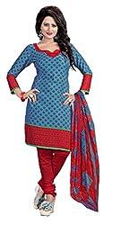 Craftliva Blue & Red Printed Crepe Dress Material