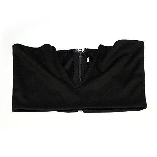 Aokdis Sexy Deep V Plunge Bustier Bra Corset Bodycon Clubwear Tank Crop Top (M, Black)