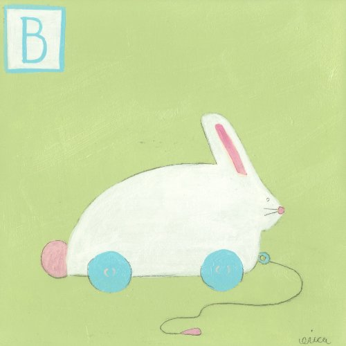 Green Frog Art 6X6 Canvas Gallery Wrapped Art, B Is For Bunny