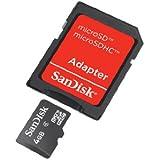 SanDisk 4 Go Carte mémoire microSDHC avec adaptateur Classe 4 SDSDQB-008G-B35