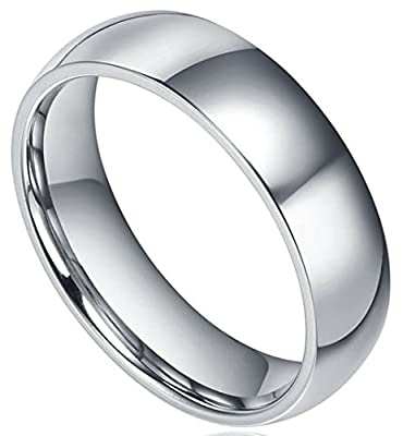 King Will Men's Classic High Polished Comfort Fit Domed Tungsten Metal Ring