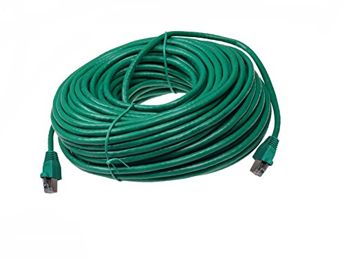 NTW 100′ Cat6a Snagless Shielded (STP) RJ45 Ethernet Network Patch Cable – Green