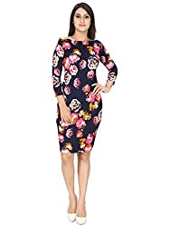 FRANCLO women's Floral print A line dress(30-32) (Navy Blue, Small)