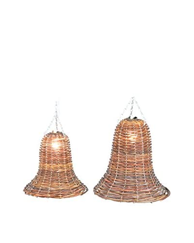 "Fantastic Craft 10"" and 12""Hanging Bell Light Set, Brown"