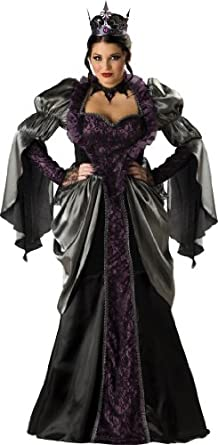 InCharacter Costumes, LLC Wicked Queen Adult Plus Full Length Long Sleeve Gown, Black, XXX-Large