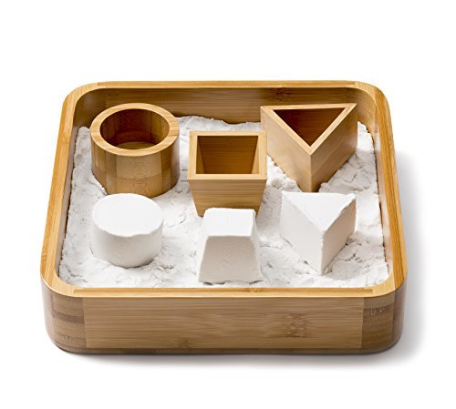 Desk Executive Sandbox Bamboo Sand Tray with 3 Geometric Molds and Sands Alive! Moldable Sand - Relieves Stress, Relax, Therapy Sand Play - Exclusive Limited Edition Set!