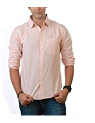 Nick&Jess Mens Peach Linen Slim Fit Shirt
