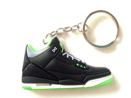 Air Jordan 3/III Cement 88 Joker Electric Green/Black Chicago Bulls Sneakers Shoes Keychain Keyring AJ 23 Retro