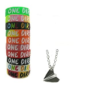 One Direction 10pcs Bracelet Wristband with 1 Pcs Harry Styles Airplane Necklace from Molie