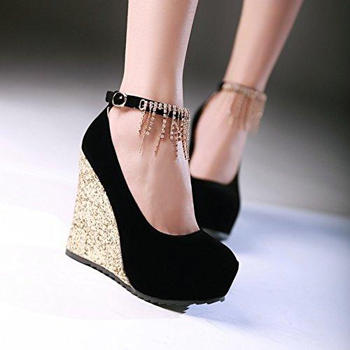 Europa e paillettes/nappa/Strass scarpe da sposa/Zeppe/scarpe da donna impermeabili-B Lunghezza piede=23.3CM(9.2Inch)