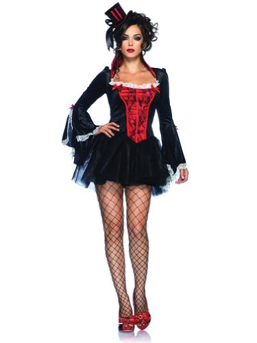 Sexy Vampire Costume Black Red Mini Dress Long Sleeve Vampiress Theatre Costumes