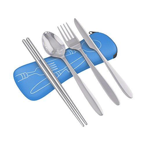 4 Piece Stainless Steel (Knife, Fork, Spoon, Chopsticks) Lightweight, Travel / Camping Cutlery Set with Neoprene Case (Camp Cooking Utensils compare prices)