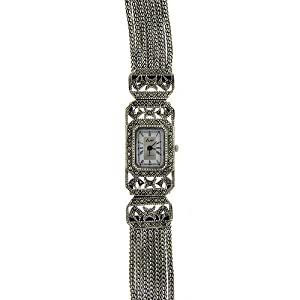 sterling silver marcasite seven strand watch